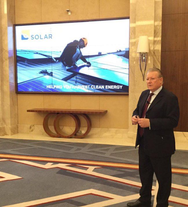 Ken Paton CEO of Symtech Solar MENA giving a solar energy presentation