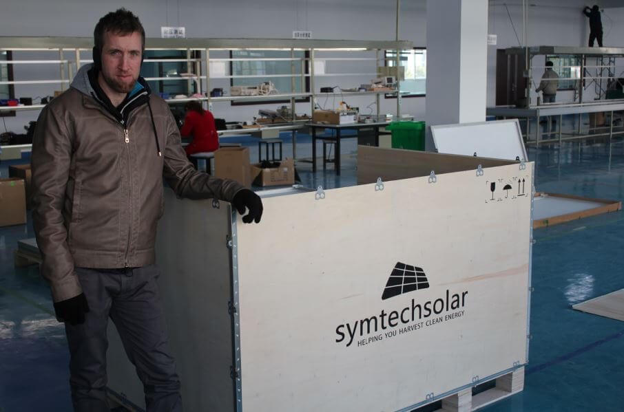 Geof Moser in Symtech Solar Kit factory 2014
