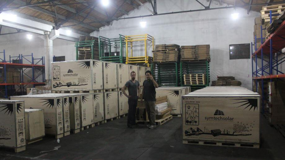 Geof Moser & Juan Castanon in Symtech Solar Warehouse 2015