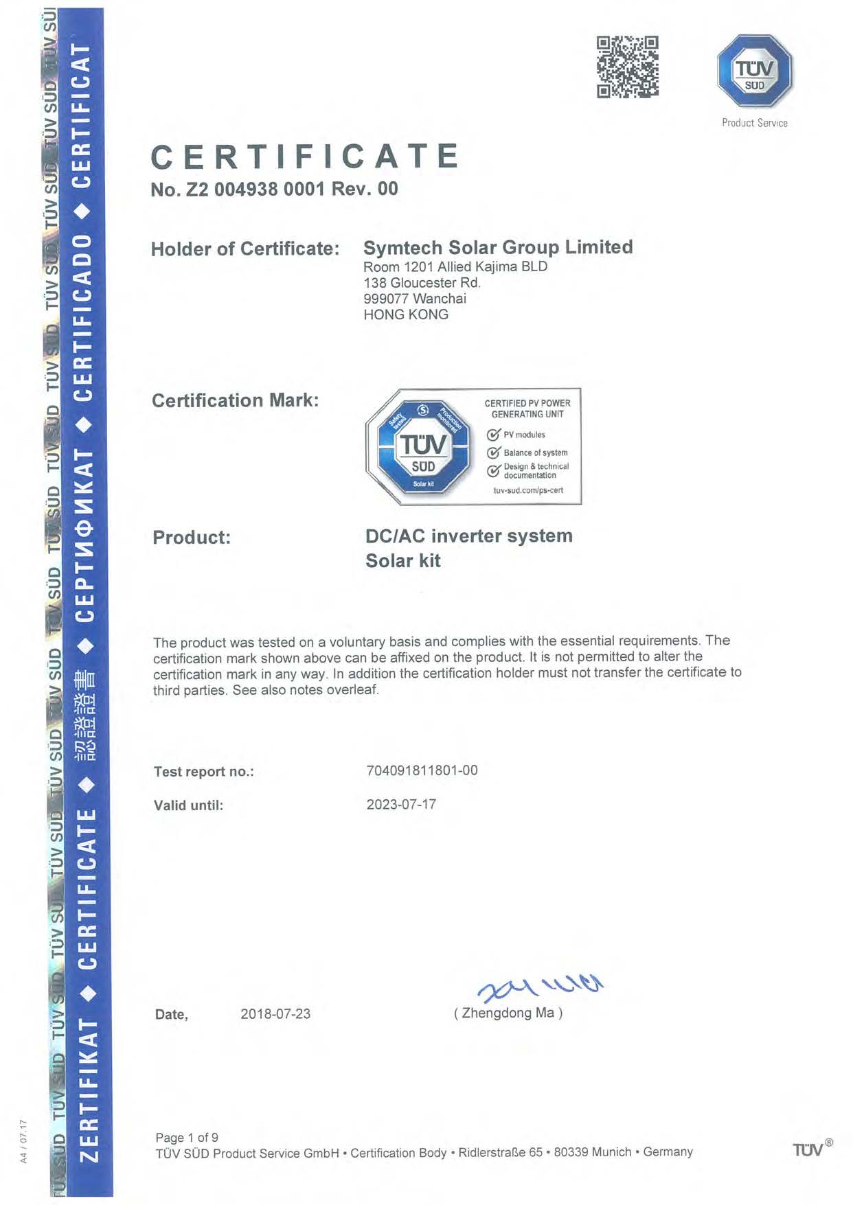 TÜV Solar Kit and System Certification
