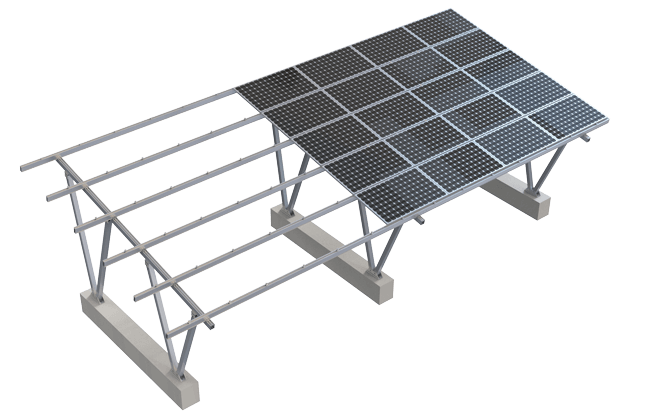 Overhead view of solar carport system