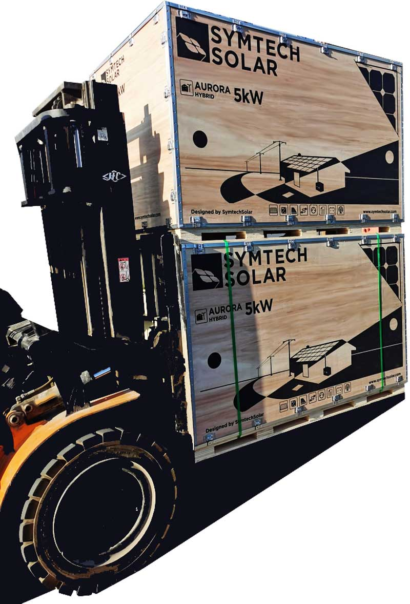 Hybrid Solar Kits being loaded for international shipping